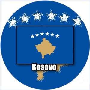 58mm Round Badge Style Fridge Magnet Kosovo Flag