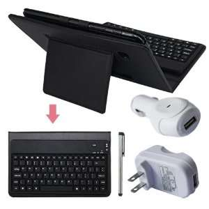 Premium Black Leather Case With Bluetooth Keyboard