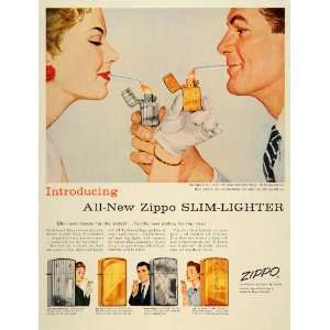 1956 Ad Zippo Cigarette Slim Lighters Niagara Falls   Original Print