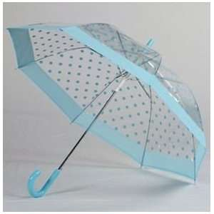 Clear Turquoise Polka Dot Umbrella with Solid Trim