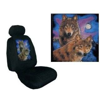 Car Truck SUV Wolf Seat Covers 2 Charcoal Grey Universal