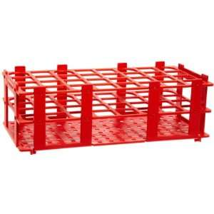 4340032 25mm 32 Tubes Red Polypropylene Test Tube Rack, 4 x 8 Tube