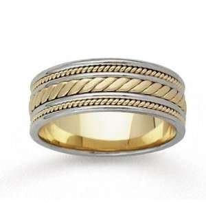 14k Two Tone Gold Elegance Hand Carved Wedding Band Jewelry