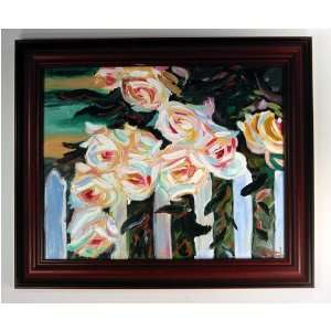 Flowers 3 (White Roses on Fence) Original Acrylic Painting on Canvas