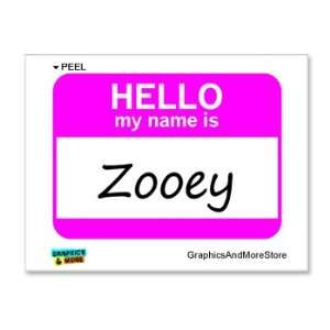 Hello My Name Is Zooey   Window Bumper Laptop Sticker