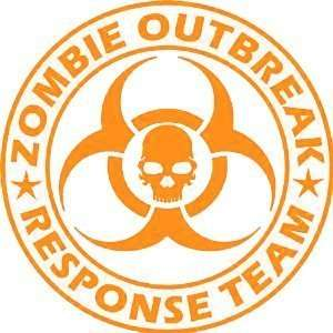 Zombie Outbreak Response Team Skull Design   9 ORANGE Vinyl Decal