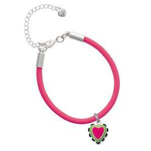 Hot Pink & Lime Green Heart with Black Ruffles Charm on a Hot