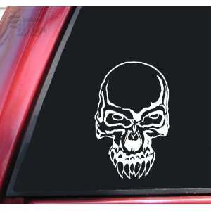 Demon Skull #2 Vinyl Decal Sticker   White Automotive