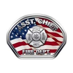 Firefighter Fire Helmet Front Face Assistant Chief American Flag Decal