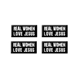Real Women Love Jesus   3D Domed Set of 4 Stickers