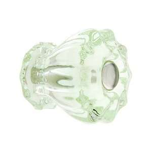 Small Fluted Depression Green Glass Cabinet Knob With