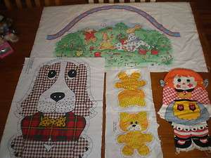CLOTH Fabric Panel DOLL Raggedy Ann Peter Rabbit Dog Calico Cat