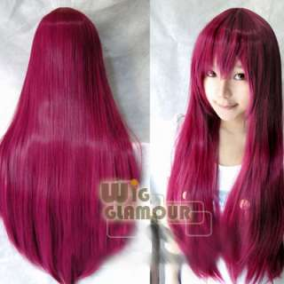 NWT Long Straight Wine Red Cosplay Party Hair Wig