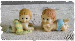 CUTE Pair of Resin Crawling Baby Figurines